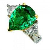 Platinum 4.34 Carat Emerald Ring
