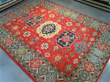 "Hand Knotted Wool Geometric ""Kazak"" Rug, 9x12"