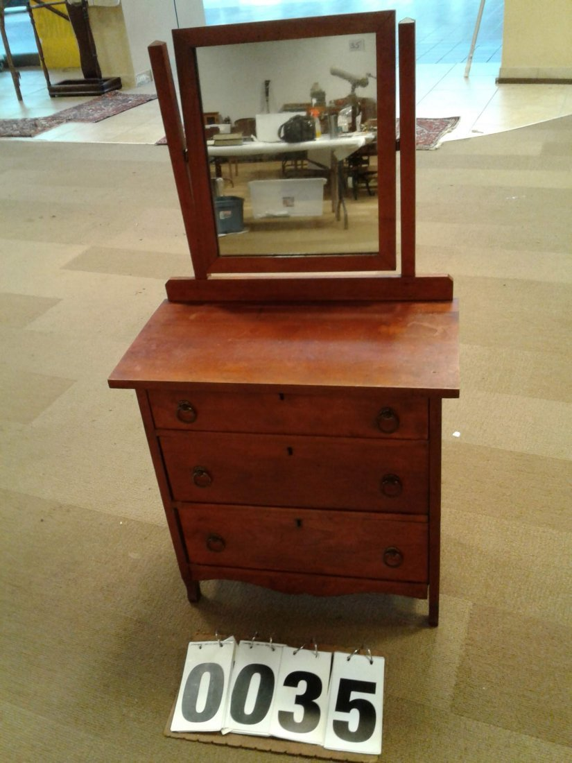 1890's Child's Maple Dresser & Mirror