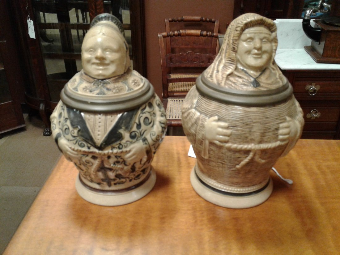 Pair of Lady + Gent Figural Steins