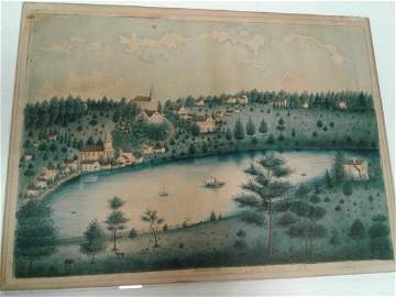 Rare Circa 1835-36 Skaneateles Painting