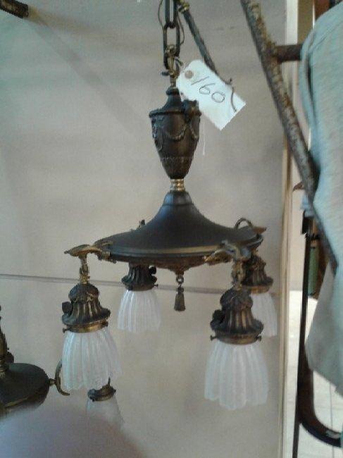 Brass 4 Arm Hanging Chandelier