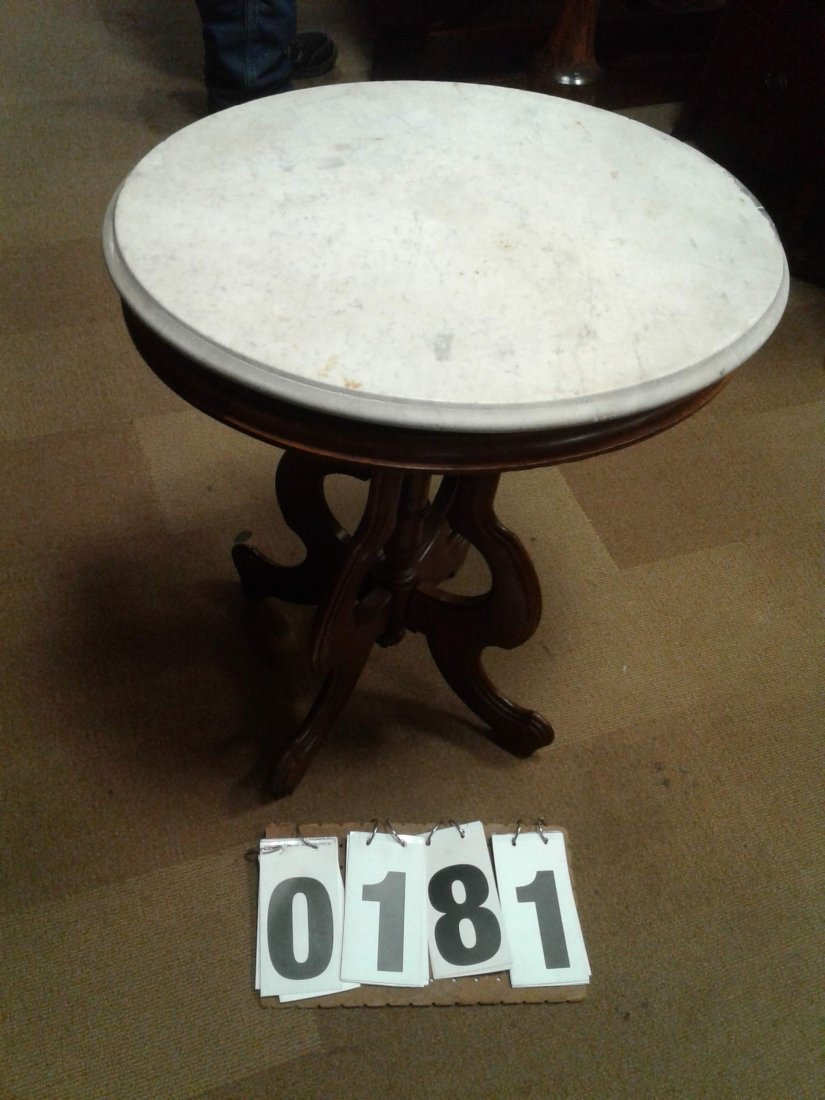 Oval White Vermont Marble Table