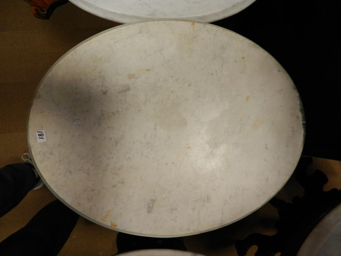 Oval White Vermont Marble Table - 2