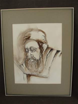 Ronald Brooks Kitaj Watercolor Portrait