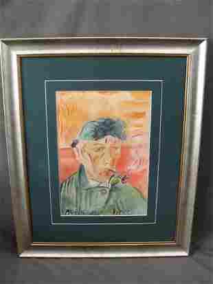 1940 Watercolor Portrait of Vincent Van Gogh