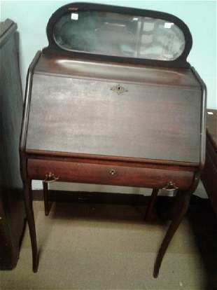 1890s Mahogany Slant Front Desk With Chair