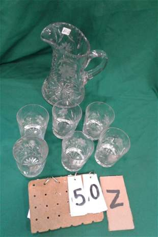 Canastota Cut Glass Water Pitcher Glasses