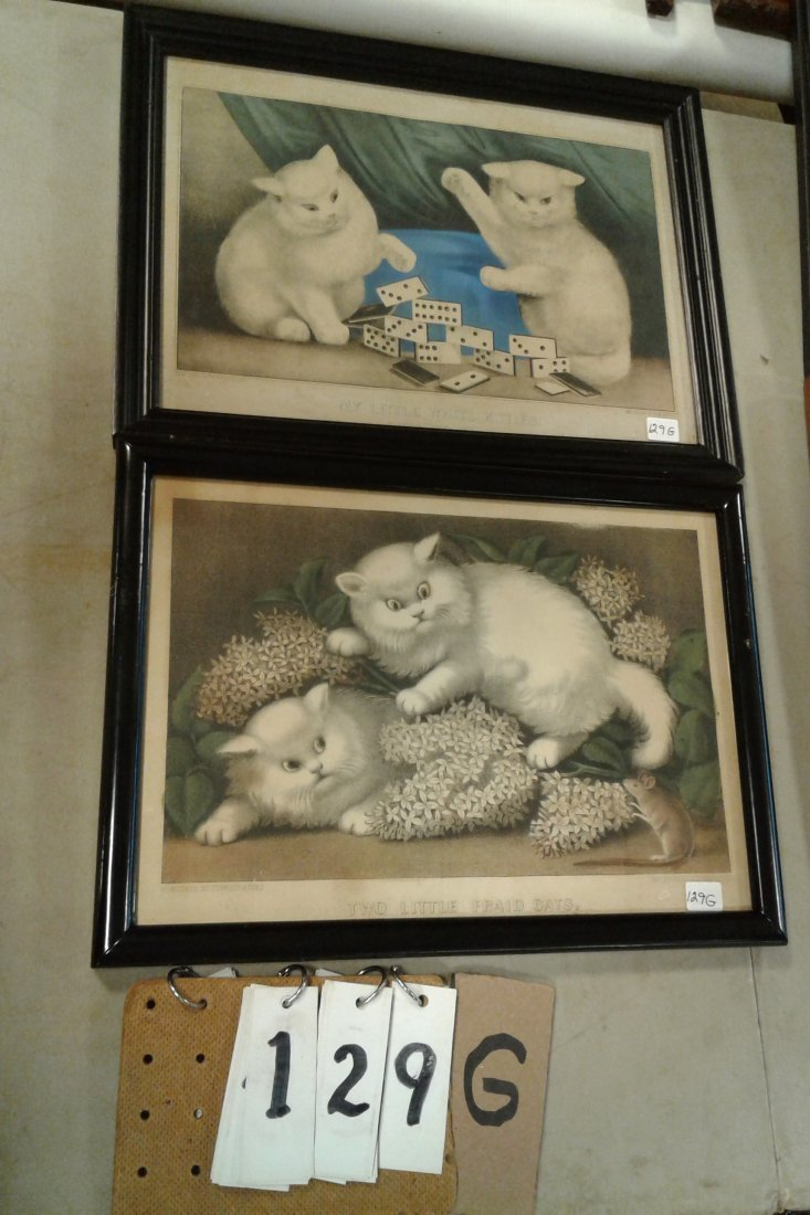 (2) Currier & Ives Prints Featuring White Kittens