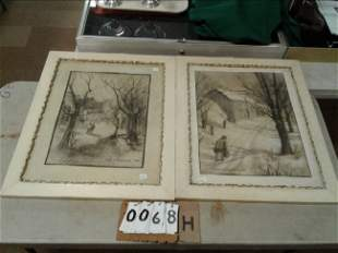 Pair of Estate Prints By Clara E Langenbach dated 1954