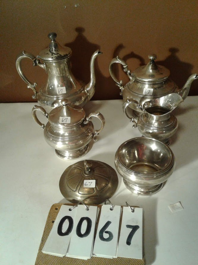 5 Pc Signed M With Bird Logo #783 Sterling Tea Set