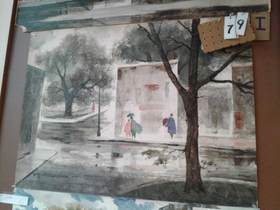 Est. Col.-John E. Detore Watercolor Street Scene