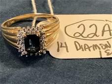 14K Gold Diamond and Emerald Ladies Ring