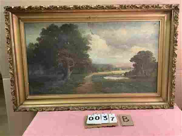 """""""Paradise Valley Lake"""" oil 19th c painting"""