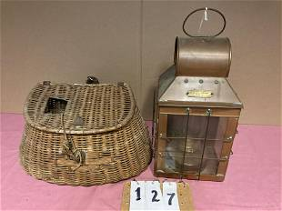 Antique Fishing Creel and Nautical Lantern