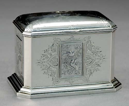 1: American sterling tea caddy, Starr & Marcus New York