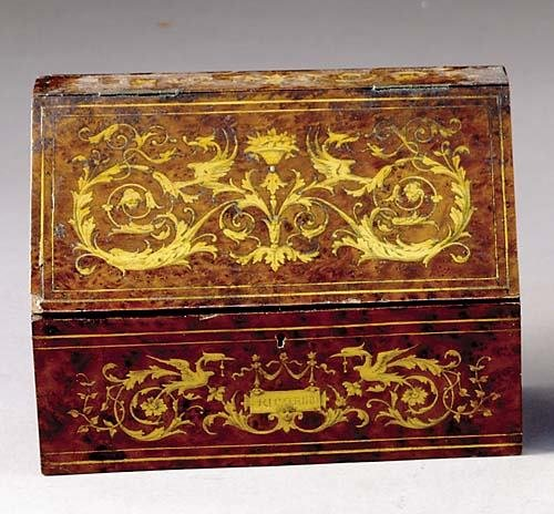 2: Continental marquetry inlaid letter box 19th century