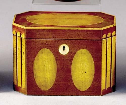 5: Regency style inlaid mahogany tea caddy