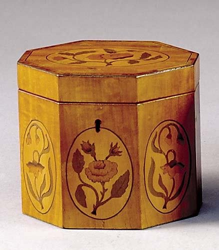 11: English inlaid satinwood tea caddy