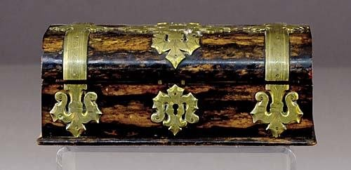 12: English rosewood brass-bound letter box late 19th c