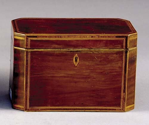 14: English inlaid mahogany tea caddy 19th century