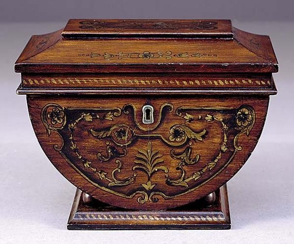16: Victorian style painted mahogany tea caddy