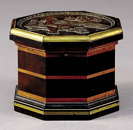 17: Victorian carved mixed wood octagonal tea caddy lat