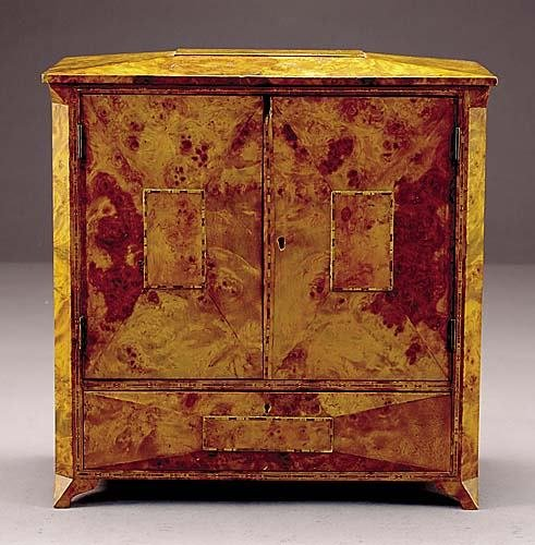 18: Biedermeier style burl walnut miniature chest late