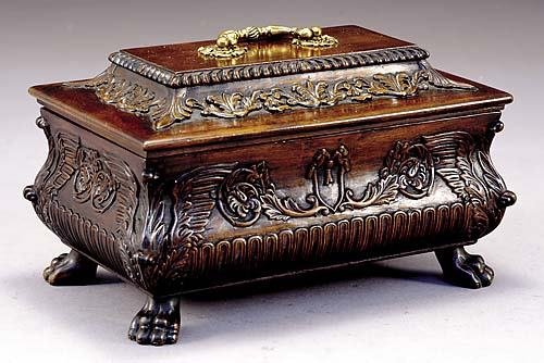 19: English carved mahogany tea caddy