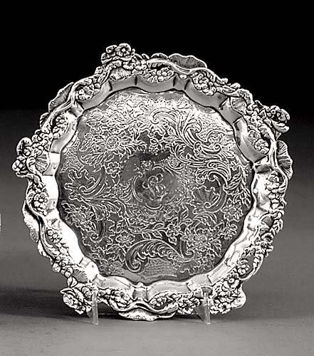 23: George III sterling salver by Edward Farrell London