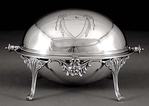 25: English silverplate revolving breakfast tureen