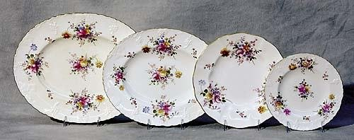 517: Royal Crown Derby married partial dinner service c
