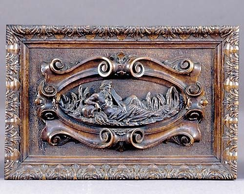 2: Continental carved walnut wall plaque