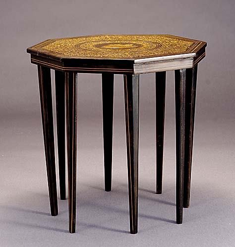 15: Continental inlaid mahogany occasional table