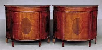 111: Pair Adam style inlaid mahogany demilune commodes