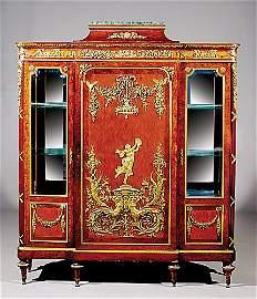174: Napoleon III bronze-dore and parquetry cabinet