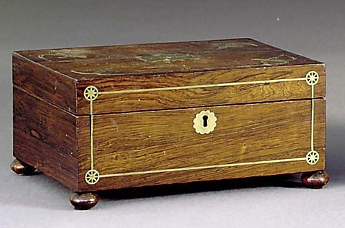 500: Rosewood and brass sewing box