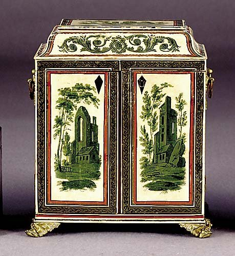 504: Continental painted miniature cabinet