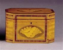 505: Georgian style inlaid satinwood octagonal tea cadd