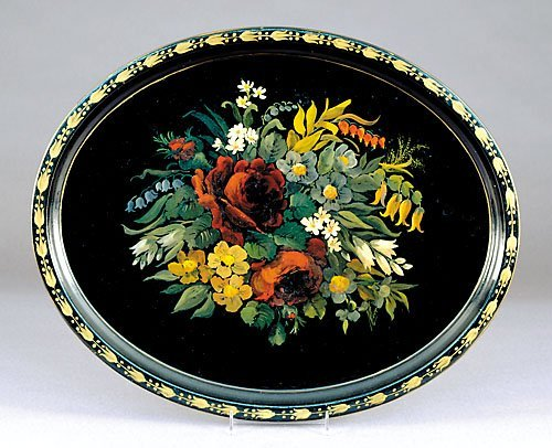 506: Tole painted tray
