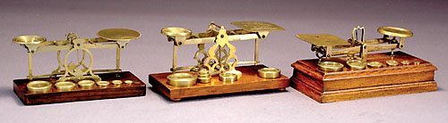 511: Three sets English brass postal scales