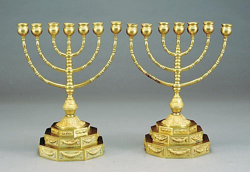 517: Pair brass seven-light menorahs