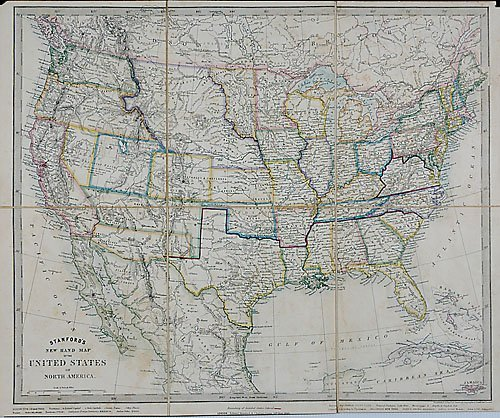522: Confederate States case map, Edward Stanford