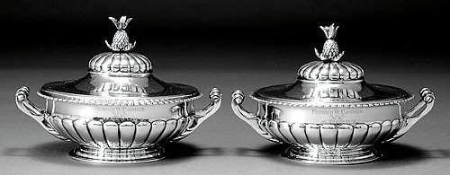 562: Pair Southern sterling covered tureens by Jacobi
