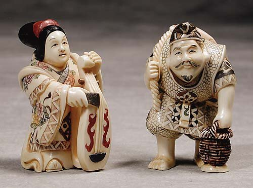 005: Two Japanese carved ivory okimono  20th century