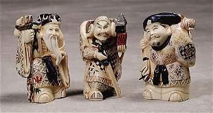 010: Three Japanese carved ivory okimono 20th century