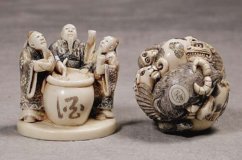 015: Two Japanese carved ivory figures  20th century