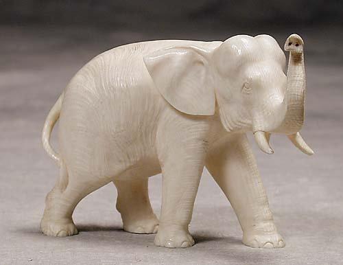017: Carved ivory elephant  20th century