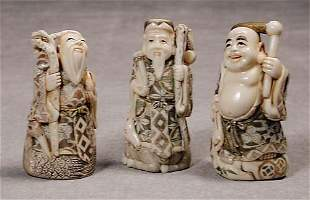 018: Three Japanese carved ivory okimono 20th century