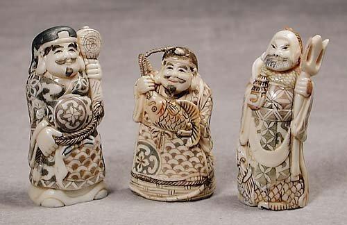 019: Three Japanese carved ivory okimono  20th century